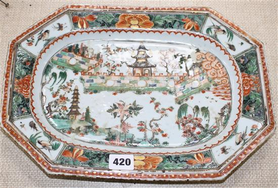 An 18th century Chinese famille verte octagonal meat plate, decorated with pagodas in a garden, flowers and birds, 36 x 26cm