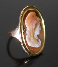 A 19th century gold and oval cameo sardonyx set ring,