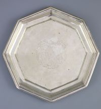 A rare George II Galway octagonal silver waiter or small salver,