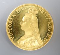 A Victoria 1887 Jubilee gold proof Five Pounds, S.3864 FDC,