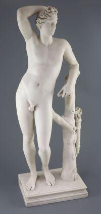Bartolomeo Cavaceppi (1716-1799). A white marble figure after the Antique Medici Apollo (Apollino), height 28in., Provenance - A. T. Ar