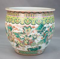 A large Chinese famille verte goldfish bowl, late 19th century, 53cm diameter, 46cm high, Provenance - A. T. Arber-Cooke