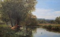 George Vicat Cole (1833-1893) On the Thames at Streatley 32 x 51.5in.