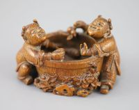 A fine and rare Chinese bamboo-root 'boys and fish bowl' brush washer, 18th/19th century,