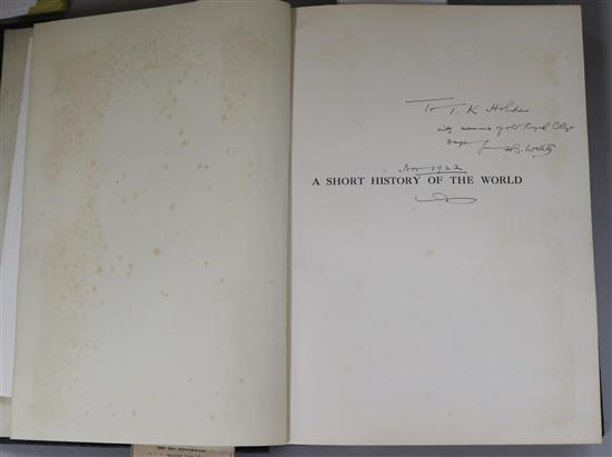 Wells, H.g. - A Short History of The World, quarto, cloth, with presentation inscription by the author, dated Nov 1922,