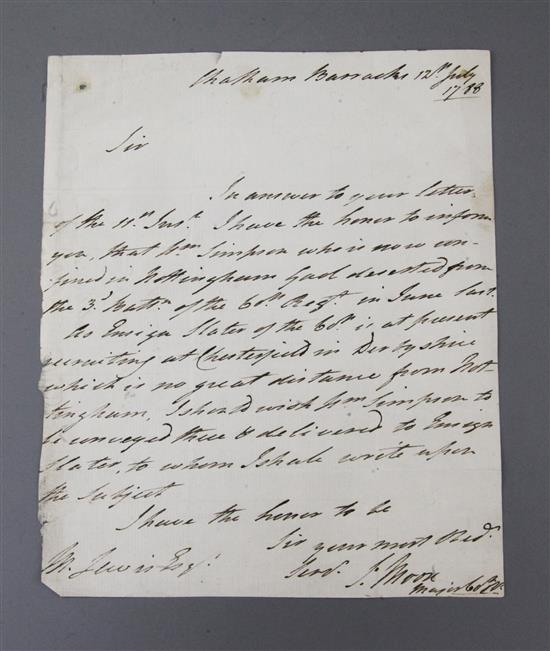 Lieut. General Sir John Moore (1761-1809), signed letter dated 12th July 1788,