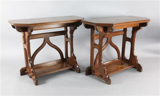 Attributed to A.W.N. Pugin. A pair of mid 19th century Reformed Gothic oak serving tables, probably made by J.G. Crace, W.3ft 6in.