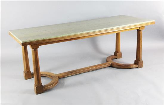 Sir Edward Brantwood Maufe (1882-1974). A walnut Swedish green marble topped refectory table, made by Crossley and Brown, L.6ft 6in.