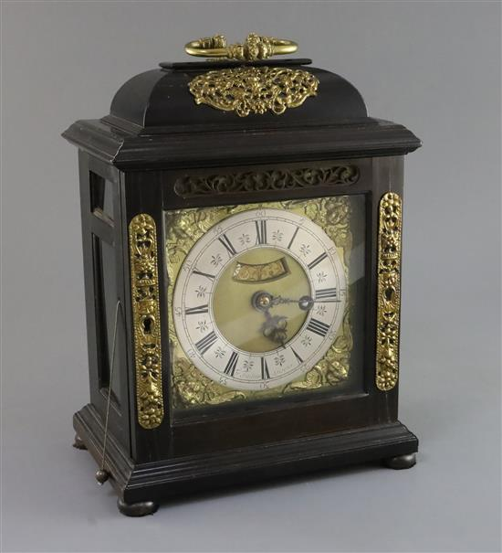 Francis Tantum of Loscoe, Derbyshire. A 17th century ebonised quarter repeating bracket clock, height 12.25in.