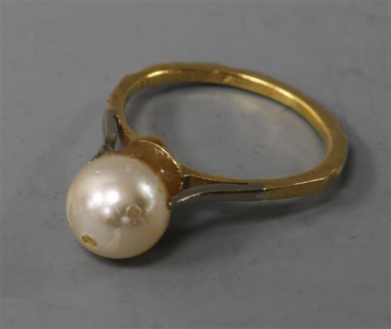 An 18ct gold, platinum and cultured pearl ring,