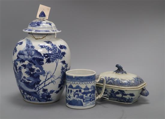 A Nanking blue and white tureen, a Chinese blue and white inverted pyriform vase and cover, Kangxi mark (a.f) and a blue and white mug