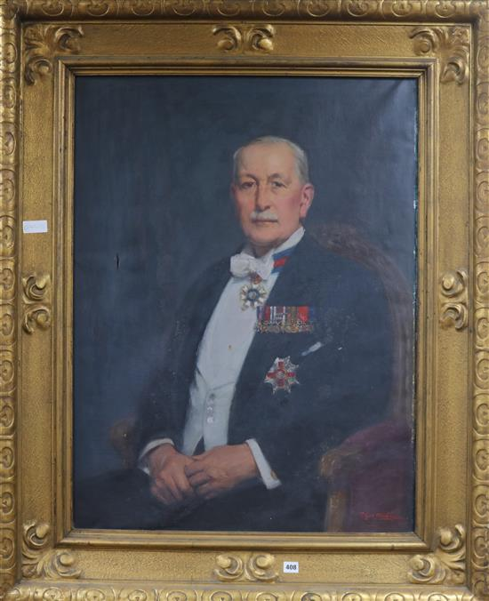 Thomas Eyre Macklin (1867-1943), oil on canvas, portrait of a knighted gentleman, signed and dated 1931, 97 x 73cm