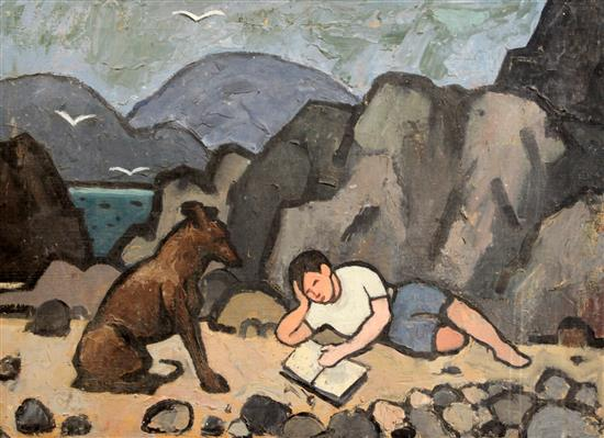 § Sir Kyffin Williams RA KBE (1918-2006) The artists cousin as a boy reading on a beach, a dog seated beside him 20 x 27in., unframed