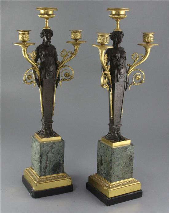 A pair of 19th century French bronze and ormolu three light candelabra, overall height 22in.