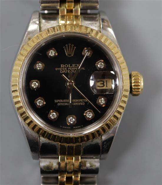 A ladys steel and gold Rolex Oyster Perpetual Datejust wrist watch,