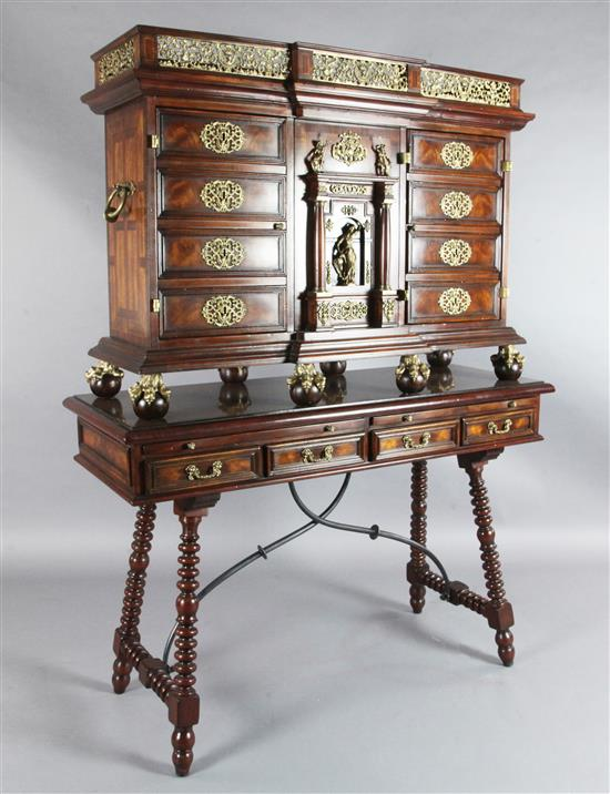 An Althorp Living History Collection walnut and mahogany Renaissance cocktail cabinet on stand, W.4ft 2in. D.1ft 8in. H.5ft 7in.