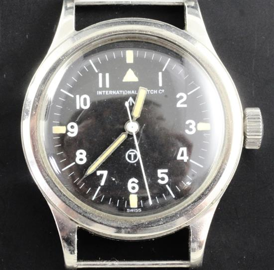 A 1950s stainless steel IWC military issue MkII Pilots manual wind wrist watch,