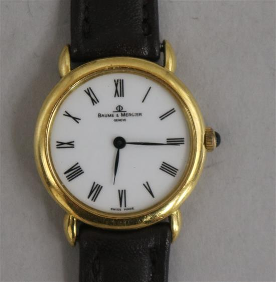 A ladys 18ct gold Baume and Mercier quartz wrist watch.