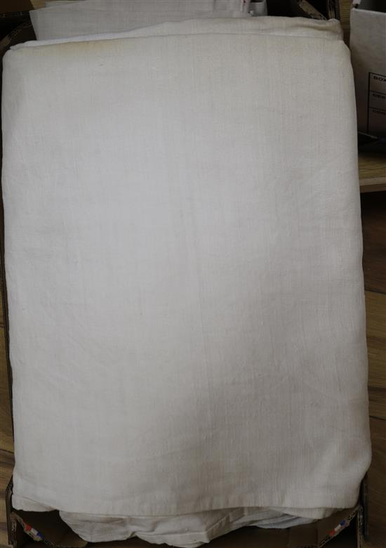 Five coarse French provincial linen sheets