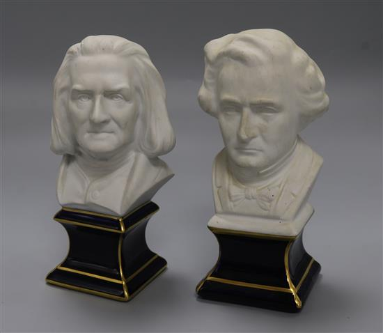 A pair of ceramic models of composers, Berlioz and Lizt