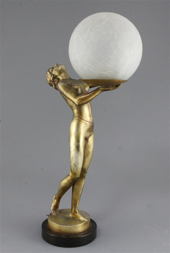 Spelter Lady Lamp A silver and gilt patinated spelter lady