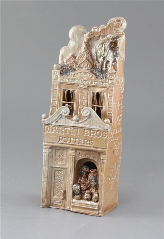 A Martinware Pottery stoneware salt glazed representation of the Martin Brothers Shop, made by Ian Gregory, 10in.