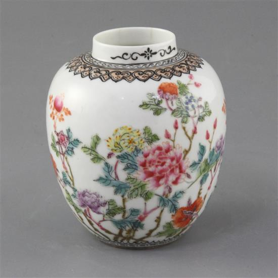 A Chinese famille rose semi-eggshell jar, Guangxu / Republic period, h. 9.8cm