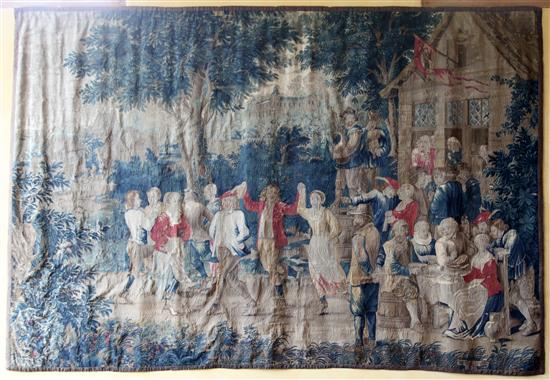 An early 18th century Flemish Teniers tapestry, from the workshop of Guillaume Werniers, H.8ft 10in. x W.13ft, extensive minor repair