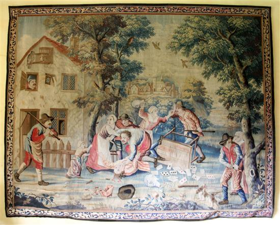 A Teniers tapestry, London c.1725, attributed to the workshop of John Vanderbank, H.7ft W.8ft 10in.