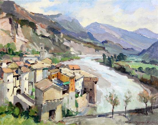 § Georges Robin (1903-2003) Entrevaux, Basses Alpes 13 x 16in.
