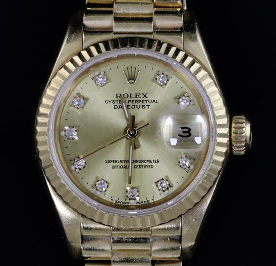 A ladys 1980s 18ct gold and diamond Rolex Oyster Perpetual Datejust wrist watch,