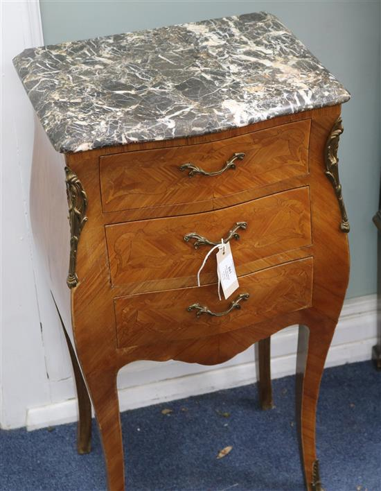 A pair of Louis XV style marble top bedside cabinets W.39cm