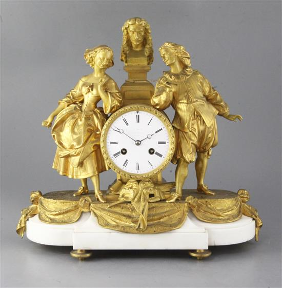 A third quarter of the 19th century French ormolu mounted marble mantel clock, 14.5in.