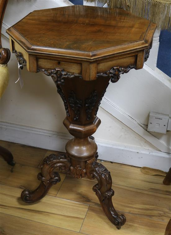 A Victorian rosewood trumpet work table W.47cm