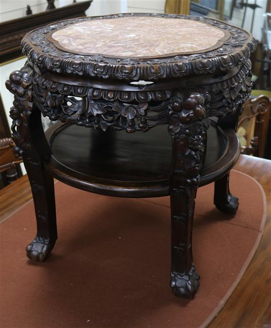 A Chinese hardwood marble top two tier table W.55cm