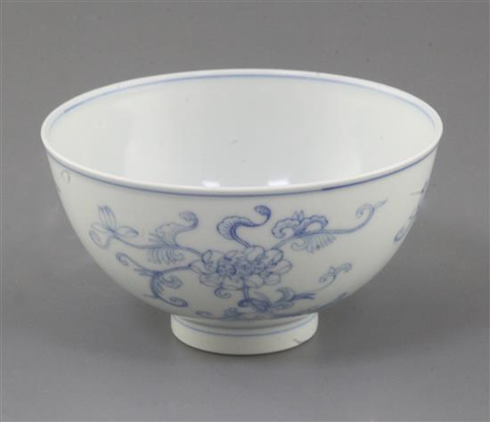 A Chinese blue and white bowl, Daoguang six character seal mark and of the period (1821-50), diameter 12.3cm