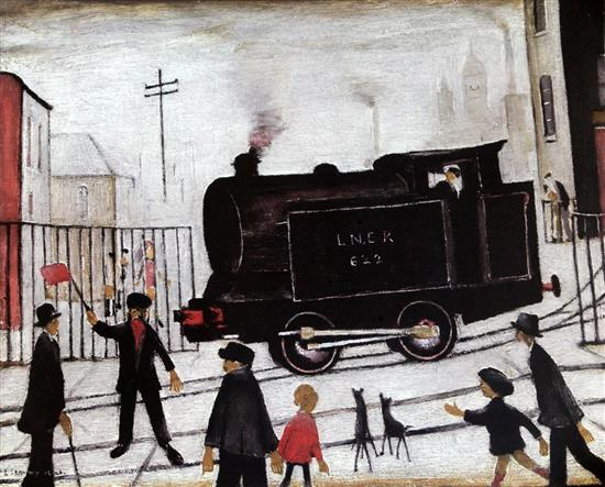 § After Laurence Stephen Lowry (1887-1976) The Level Crossing with Train overall 24 x 28in., unframed