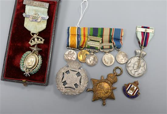 A set of miniature medals and other medals badges etc.