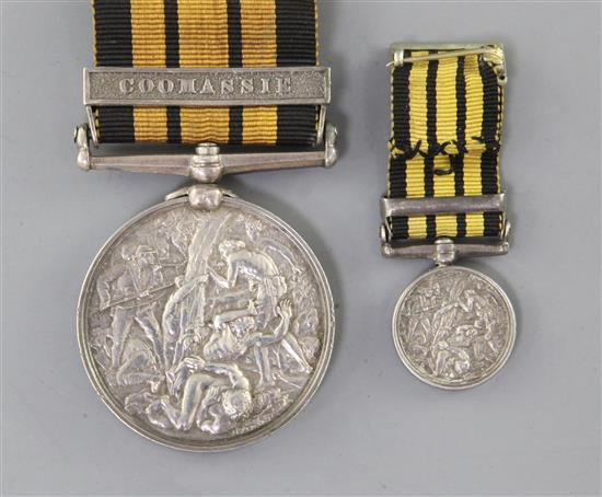An Ashantee medal with Coomassie clasp, 1529 to Serjt R. Rankin, 2nd Bn Rifle Bde, 1873-4 and miniature.