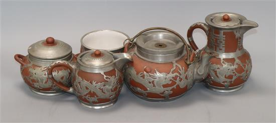 A Chinese Yixing and pewter mounted five piece tea set tallest 15cm
