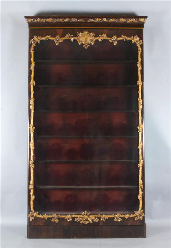 A Victorian rosewood and holly wall mounted display cabinet, mid 19th century, W.4ft 6in.