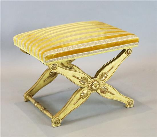 A 19th century Continental giltwood X frame stool, 2ft x 1ft 8in. H. 1ft 8in.