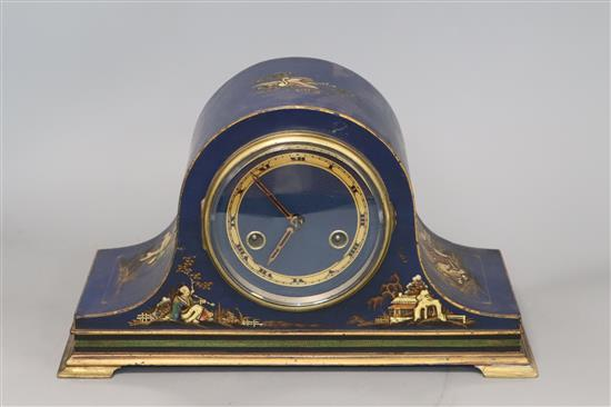 A 1920s Chinoiserie lacquer mantel clock height 19cm