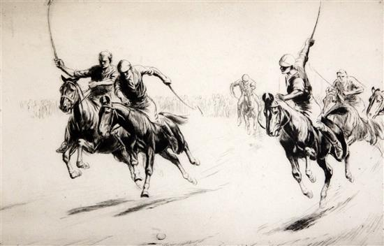 George Soper (1870-1942) Polo 1922 Galloping Players 7 x 11in.
