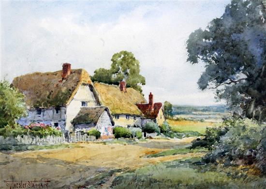 Henry Sylvester Stannard (1870-1951) Thatched cottages in a landscape, 10 x 14.5in.