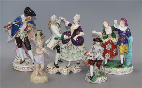 A group of five Continental porcelain figures
