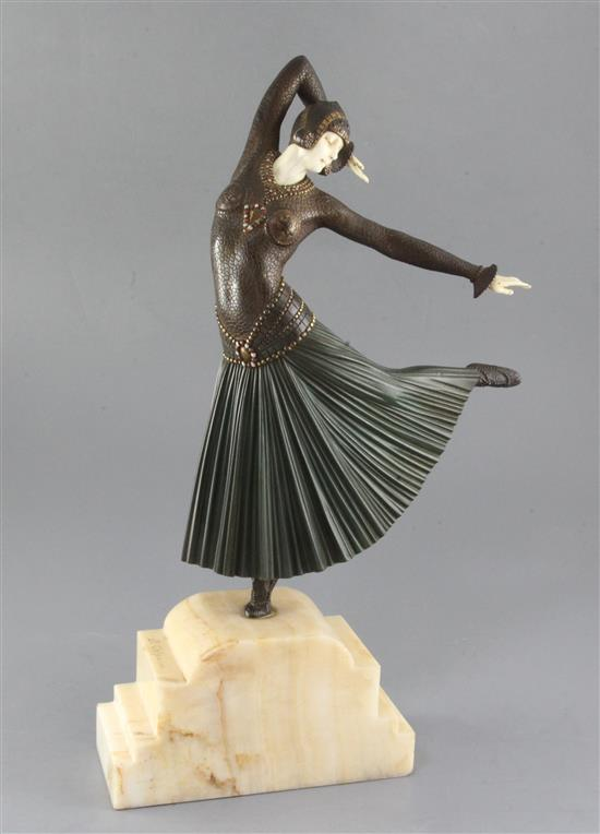 Dimitri Chiparus (1886-1947). An early 20th century French ivory, patinated and cold painted bronze figure La Danseuse Ayouta, height
