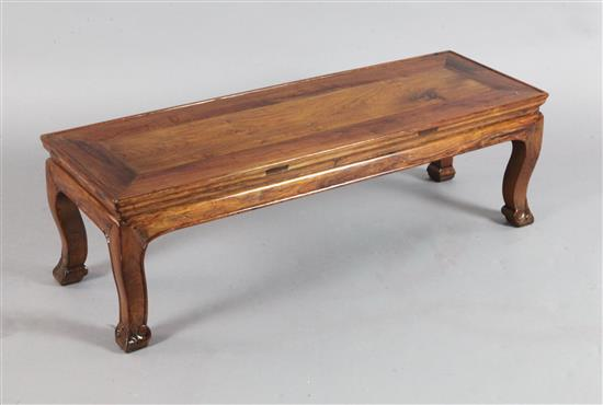 A Chinese huang huali kang table or bench, 17th century with later alterations, 97cm long x 33cm wide x 30.5cm high, various repairs