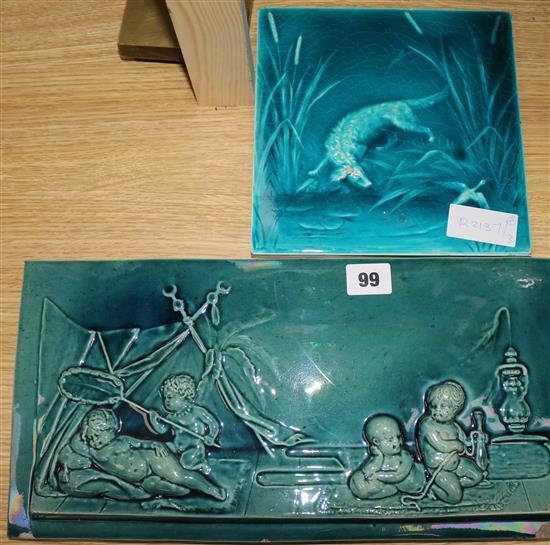 A Ceramic Putti Plaque And A Minton Hollins Tile Sale