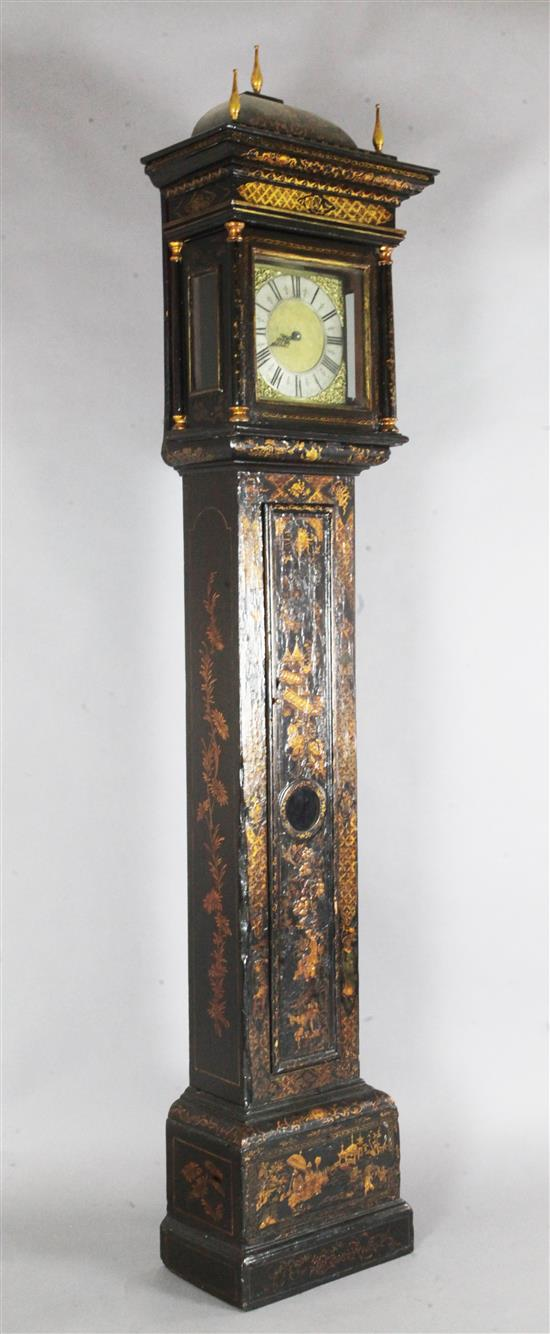 Humphrey Marsh of Highworth. An early 18th century chinoiserie lacquered thirty hour longcase clock, H.7ft 7in.